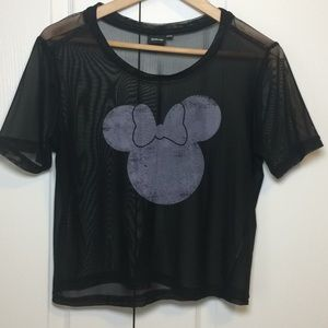 Disney minimouse black sheer short sleeve T-shirt